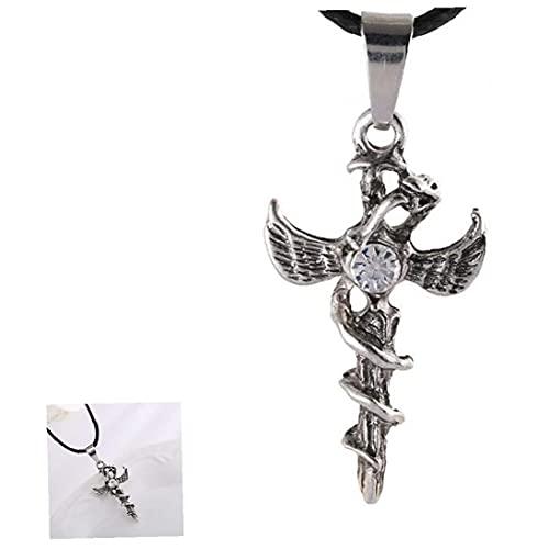 Minítimo Vampire Diaries Joyas cruzadas Cadena colgante Simple Metal Cross Collar Collar de fe pulida altos con decoración de diamantes de imitación para hombre y mujeres (blanco)
