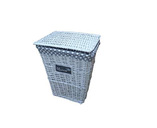 Euronovità Srl EN-226805 Cesta portabiancheria Rettangolare Shabby in Vimini con Coperchio e Interno Foderato, Colore Bianco, h 56 cm x Larghezza 45cm x Lunghezza 35 cm
