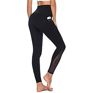Fashion Shopping AFITNE Women's High Waist Mesh Yoga Leggings with Side Pockets, Tummy Control Workout