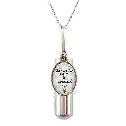 AlloGlassoO0Charm AS033 AS033 - Collar con urna de cremación para el autismo es incondicional de amor, pieza de puzle de amor y joyería de autismo