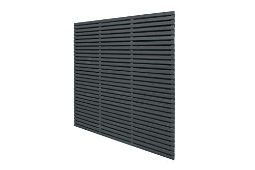 Contemporary Double Slatted Fence Panel, Anthracite Grey, 6 x 6 feet (1.8 x 1.8 m)