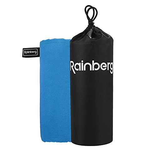 Rainberg Microfibre Towel Sports Towel, Travel Towel, Swimming Towel and Beach Towel, Fast Drying, Super Absorbent - Ultra Compact, Great for Camping, Gym, Beach and Swimming (Blue)