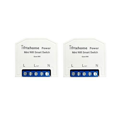 InteHome Contador eléctrico con interruptor wifi compatible con Alexa, medidor de potencia, voltímetro (2, aplicación Smart Life)