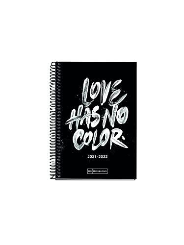 MIQUELRIUS - Agenda Escolar 2021-2022 - Tamaño ACTIVA 11,7 x 17,4 cm, Día Página, Teen Color Love, Idioma Euskera