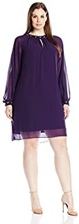 S.L. Fashions Women's Plus Size Long Sleeve Dress with Jewel Trim