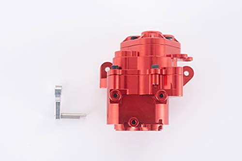 RZXYL 1/10 RC Car Transmission Case Shell Gearbox Full Alloy Shell Assembled for TRX4 RC Crawler Car (Red)