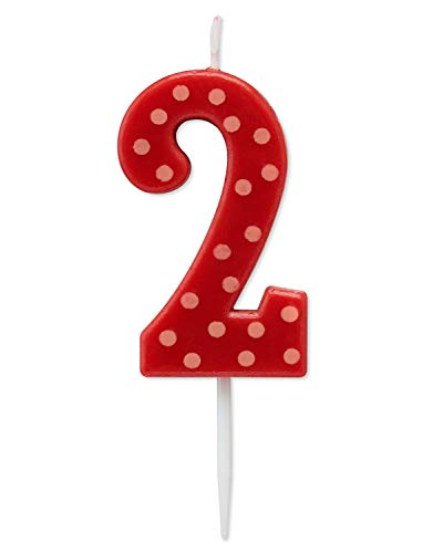 Papyrus Birthday Candle Number 2, Red Polka Dots (1-Count)