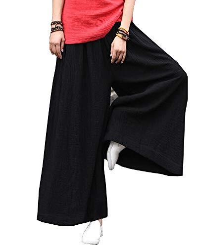 Shaoyao Mujer Lino Harem Pantalones Elegantes Pantalon Pants con Bolsillos Negro