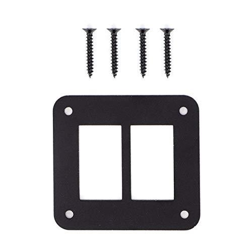 Akozon Soporte de la carcasa del panel del interruptor basculante Tenedor de encendido/apagado del barco del remolque del coche durable de aluminio negro de 2 vías