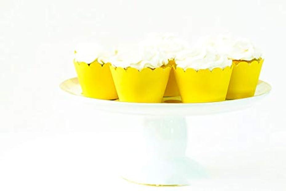 取るに足らない騒々しい学校カップケーキライナーラッパー12マフィンカップケーキホルダーセットカラフルデコレーション イエロー