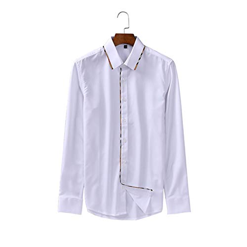 Camisas de Manga Larga para Hombre Slim Regular Fit Button-Down Calidad Business Casual Office Work Home Casual Easy Care Camisas X-Large