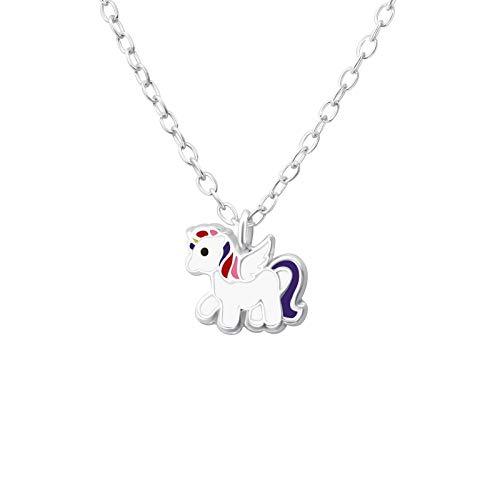 Laimons - Collar para niña con colgante de 8 mm con cadena de 39 cm, unicornio morado y blanco, plata de ley 925
