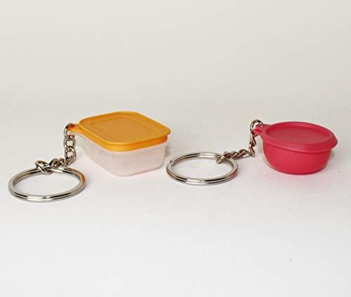 TW Tupperware - Llavero de cristal de hielo naranja + cuenco ergonómico en miniatura