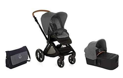 Jané Muum kinderwagen, 2-delig, opvouwbaar babybad en buggy, met tas en regenbescherming, compact, inklapbaar, voetrem, omkeerbare hangmat, unisex (Jet Black)