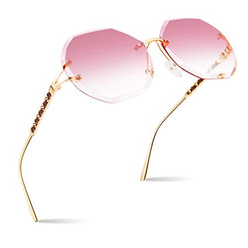 CGID Sonnenbrille für Frauen Randlos Sonne Brille für Damen Randlose Brille UV400 Schutz Dunkle Gläser 100% UV 400 Brille für Fahren Diamantschnitt Metall Schläfe Leder Verzierung Rosa Linse