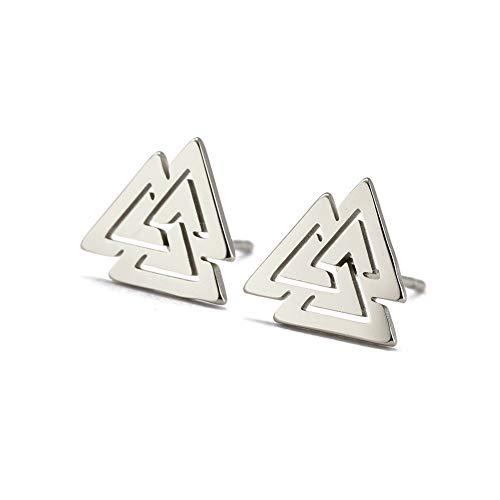 VASSAGO Stainless Steel Norse Viking Valknut Odin Symbol Stud Earrings Hollow Out Design Geometry Charm Minimalist Hypoallergenic Earring for Women Teen Girls