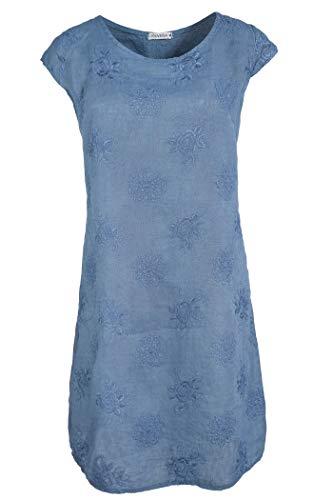 PEKIVESSA Damen Leinenkleid Stickerei Sommerkleid Kurzarm Jeansblau 44 (Herstellergröße XXL)