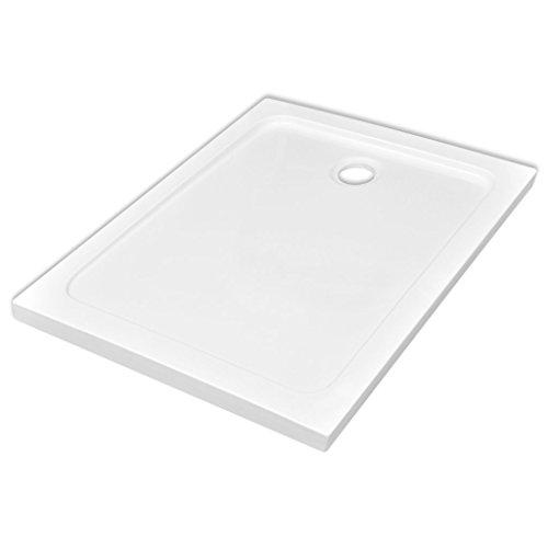 Festnight Rechteckig ABS-Duschwannenboden Duschtasse rutschfeste Duschwanne Niedrige Schwelle Weiß 80 x 110cm