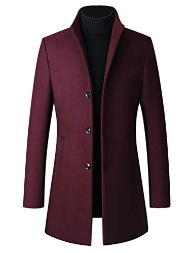 FTCayanz Men's Trench Coat Wool Blend Slim Fit Top Coat Single Breasted Business Overcoat Wine Medium
