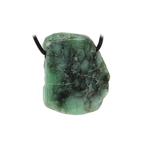 budawi® - Smaragd Anhänger Scheibe gebohrt mit Lederband, Smaragdstein
