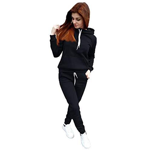 Damen Jogginganzug mit Kapuze und Bündchen Jacke und Hose Solid Farbsets Reißverschluss Lounge Wear Anzug Sport Set Tops und Hosen Bequem und Sportlich