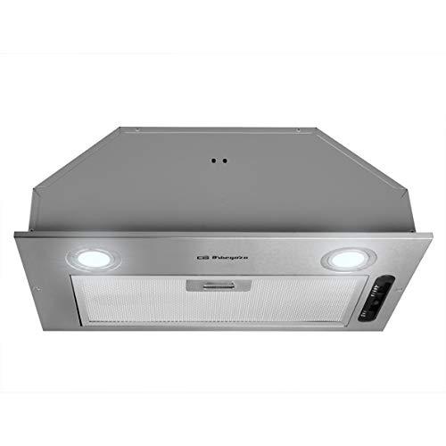 Orbegozo CA 07260 A IN - Campana extractora cassette 60cm, acero inoxidable, extracción 289,7 m3/h, 3 niveles de potencia, filtro aluminio desmontable, iluminación LED