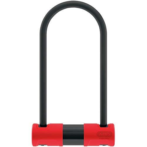 ABUS Bügelschloss 440A mit USH-Halterung - Fahrradschloss mit 100 dB lautem Alarm - ABUS-Sicherheitslevel 8 - 230 mm Bügelhöhe - Schwarz/Rot*