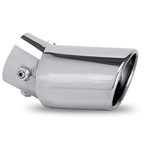 Dsycar Universal Adjustable Inlet Exhaust Tips Pipe, Fit 1.75 - 2.75 inch Inlet Exhaust Tips Chrome-Plated Finish Bolt On Design Exhaust Tips Protect Original Tailpipes (Silver Large Curved)