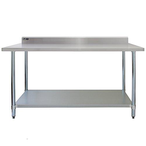 Kukoo -Mesa de Trabajo de Acero Inoxidable, Mesa de Cocina para gastronomía, Mesa de Acero Inoxidable con Estante Inferior Extra Grande Hostelería |152 cm, Capacidad de carga 250kg | 2 telas de microfibra