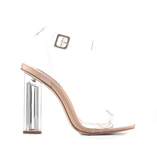 Cape Robbin Maria-2 Clear Chunky Block High Heels for Women, Transparent Strappy Open Toe Shoes Heels for Women - Nude Size 7