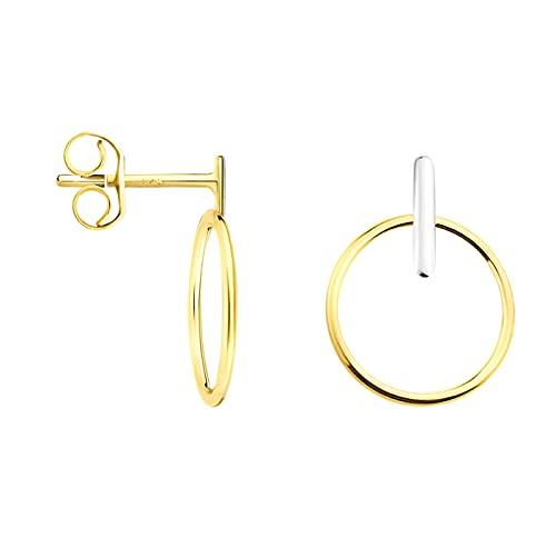 DIAMALA Pendientes para mujer de oro 375 (9 quilates), oro amarillo y blanco con diseño de círculo, DI20005