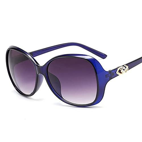 Astemdhj Gafas de Sol Sunglasses Gradient Retro Gafas De Sol Mujer Gafas De Sol Vintage Mujer Gafas De Diseñador para Mujer Espejo BluedoublegrayAnti-UV