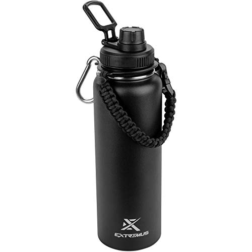 Extremus Deluge Stainless Steel Vacuum Insulated Sports Water Bottle with 100 Leak-Proof Travel Lid w Paracord Survival Handle 32 oz Black