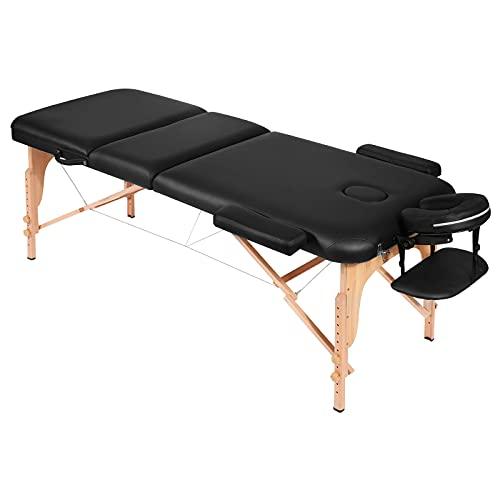 Massageliege Massagetisch Massagebett Massagestuhl mit 3 Zonen tragbaren höhenverstellbaren Holzfüßen Einfache Installation Ergonomische Kopfstütze mit Tragetasche (belastbar bis 250kg)
