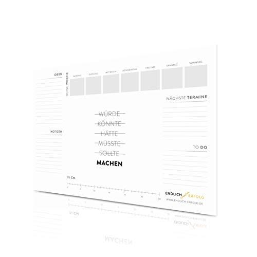 LIFEBOARD® PREMIUM Schreibtischunterlage Papier - 1x 50 Blatt - 90g/m² - Schreibunterlage XXL in A2-59,4 x 42 cm - für mehr Fokus & Motivation - by ENDLICH ERFOLG