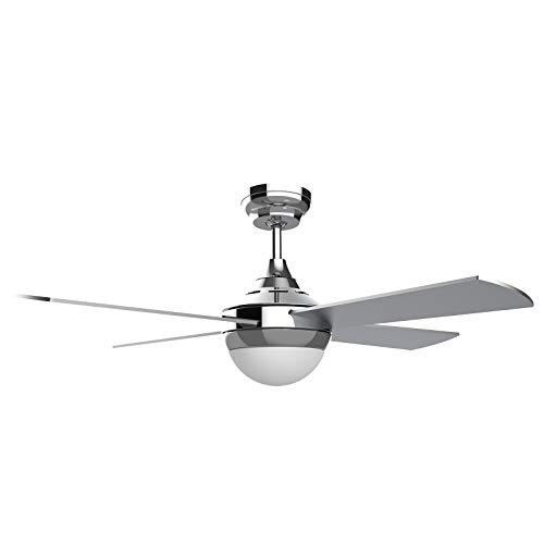Ovlaim Ventilador de techo moderno de 122 cm con iluminación LED (3 colores) y control remoto (6 velocidades), motor de CC de bajo consumo, súper silencioso, adecuado para verano e invierno - Plata
