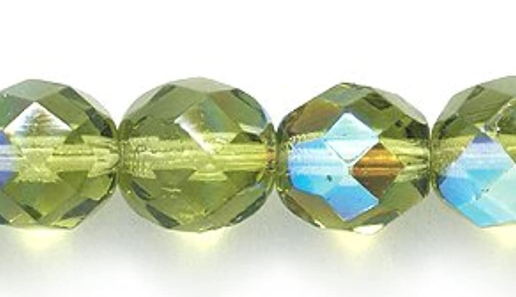 Preciosa Czech Fire 8mm Polished Glass Bead, Faceted Round, Peridot/Olive Aurora Borealis, 100-Pack
