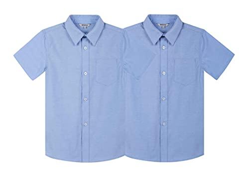 Bienzoe Niños Escuela Manga Corta Oxford Camisa 2 Piezas Pack