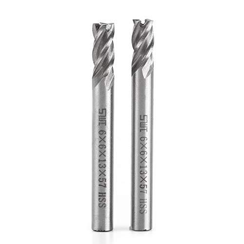 XBF-TOOL, 2 st HSS 6 mm 4 fluiten einde molen metalen snijden graveren freesmachine Bit CNC gereedschap frezen Boor Bit Set Tool