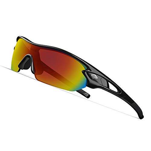 TOREGE Polarized Sports Sunglasses with 3 Interchangeable Lenes for Men Women Cycling Running Driving Fishing Golf Baseball Glasses TR02 (Black&Black&Rainbow Lens)