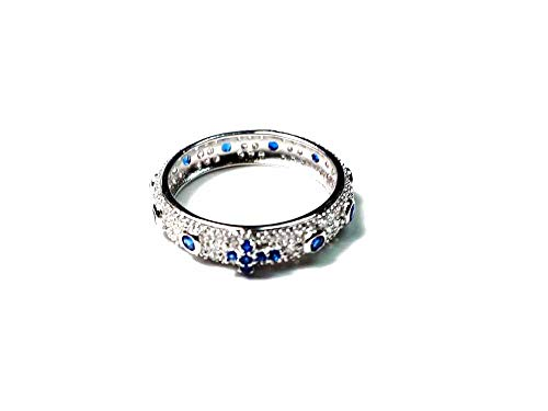 Handmade 1 Wedding Ring 925 Silver Pave and White Cubic Zirconia Red Black White Green Blue Royal Prayer Rosary Size 10 to 26 Italian