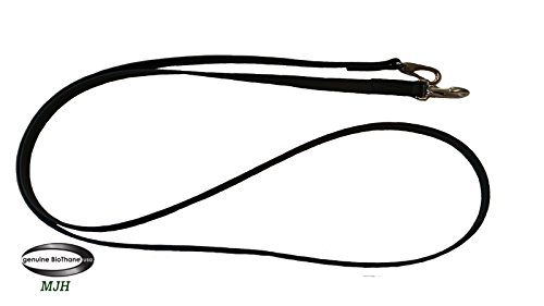 MJH BioThane rijlijnkogels 7 m en 16 mm breed genaaid zwart pony spanbanden