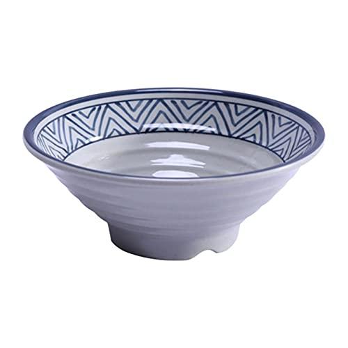 ZHANGNING 1 Pieza Restaurante Ramen Bowl Restaurante Sopa de Sopa Tazón de Fideos Restaurante Plástico Imitación de Porcelana Sopa de Porcelana (Color : Blue, Size : 20 * 7.5CM)