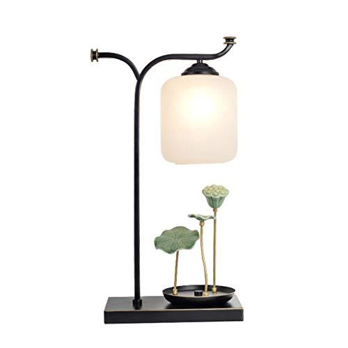 Tingting1992 Lámpara de mesita de Noche Chino Loto mesita de Noche lámpara de sobremesa Estudio Estudio Dormitorio Sala de Estar Moderna decoración Moderna Lámpara de Mesa