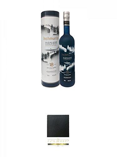 Inchmurrin neue Aufmachung 18 Jahre Single Malt Whisky 0,7 Liter + Schiefer Glasuntersetzer eckig ca. 9,5 cm Durchmesser