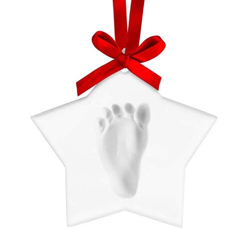 CALIDAKA Baby Handprint Footprint Ornament Keepsake Kit, Personalized Baby Prints Ornaments for Newborn, Clay Casting Kit, Boys & Girls, Baby Nursery Memory Art Kit