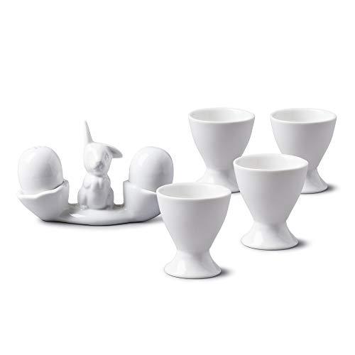 WM Bartleet & ‿Sons 1750 TSET91 Ensemble de petit déjeuner en porcelaine Motif lapin et œufs Blanc