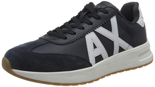 ARMANI EXCHANGE Leather Suede Sneakers, Scarpe da Ginnastica Uomo, Navy Optic White, 44 EU