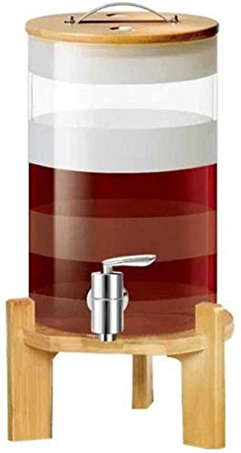 Personalidad Decantador de vino y gafas Set Whiskey Barrel Decanter, con soporte de madera y tapa, grifo, resistencia a alta temperatura, para vino vino vodka vodka cerveza diseño transparente botella