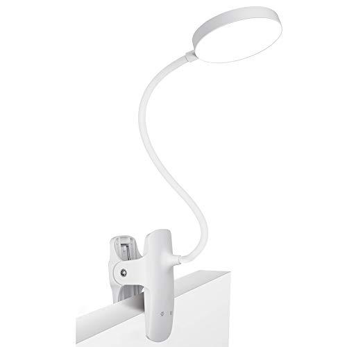 PENDEI Leselampe Bett Klemmleuchte, 36 LED Klemmlampe USB Wiederaufladbar Buchlampe mit 5 Farbtemperatur 5 Helligkeiten 360°Flexible Dimmbare Klemmleuchte Touch-Steuerung für Nachttisch Bett (Weiß)